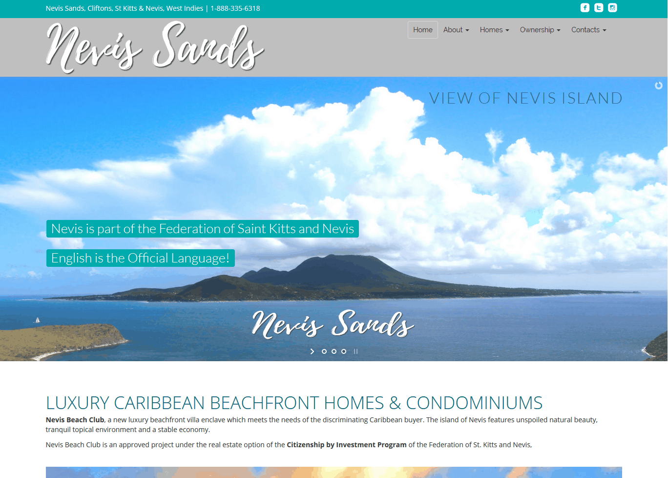 Nevis Sands Website by iSatisfy.com Miami Web Design
