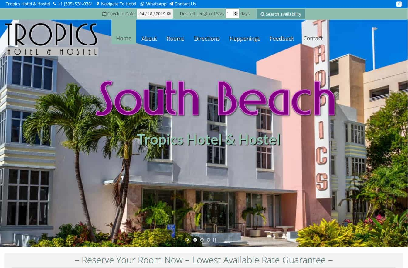 Tropics Hotel & Hostel Miami Beach Website by iSatisfy.com