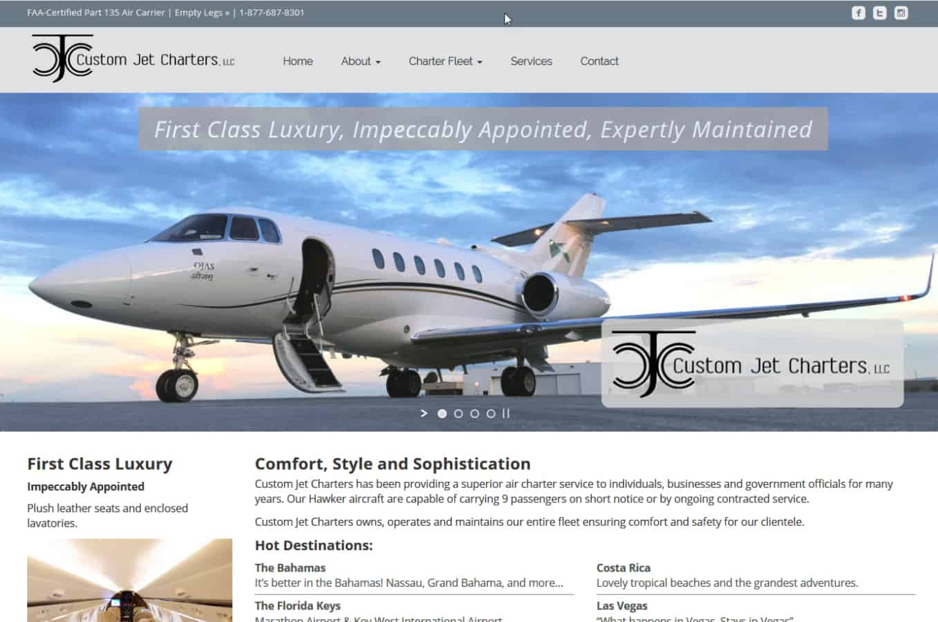 Custom Jet Charters West Palm Beach Website by iSatisfy.com