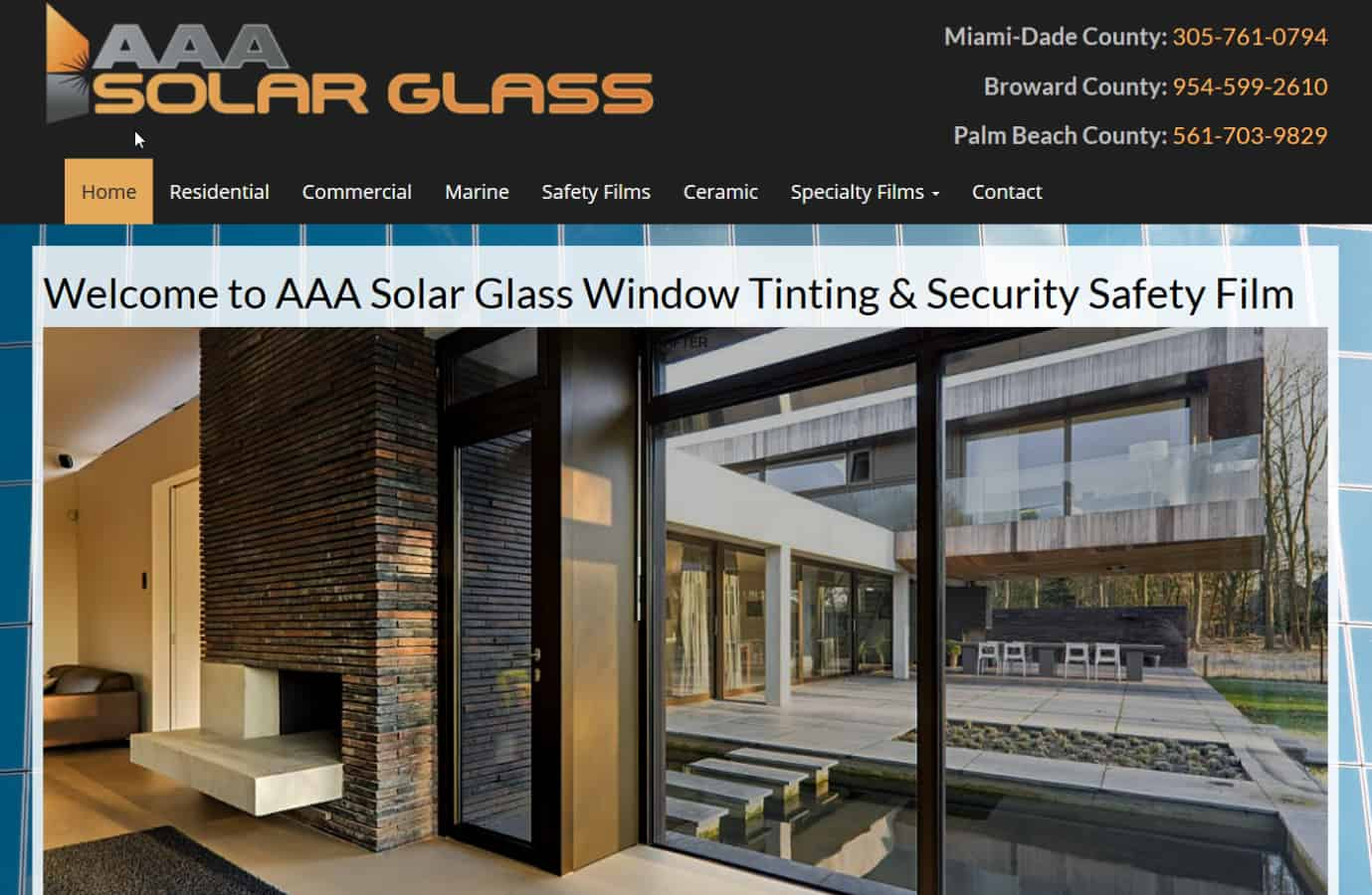 AAA Solar Glass & Window Tinting Ft. Lauderdale Website by iSatisfy.com