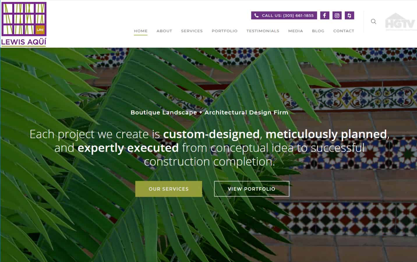 Lewis Aqui Miami Landscape Architecture Website by iSatisfy.com